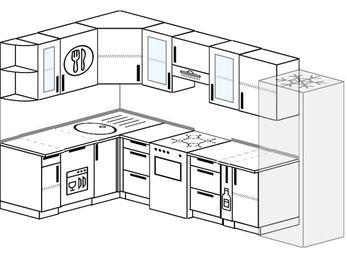 Угловая кухня 7,5 м² (1,6✕3,0 м), верхние модули 72 см, посудомоечная машина, холодильник, отдельно стоящая плита