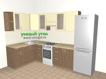 Угловая кухня МДФ матовый 7,5 м², 1600 на 3000 мм (зеркальный проект), Ваниль / Лиственница бронзовая, верхние модули 720 мм, посудомоечная машина, холодильник, отдельно стоящая плита