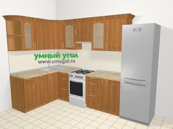 Угловая кухня МДФ матовый в классическом стиле 7,5 м², 160 на 300 см (зеркальный проект), Вишня, верхние модули 72 см, посудомоечная машина, холодильник, отдельно стоящая плита