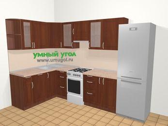 Угловая кухня МДФ матовый в классическом стиле 7,5 м², 160 на 300 см (зеркальный проект), Вишня темная, верхние модули 72 см, посудомоечная машина, холодильник, отдельно стоящая плита