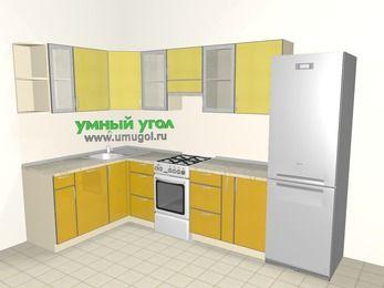 Кухни пластиковые угловые 7,5 м², 1600 на 3000 мм (зеркальный проект), Желтый Альтамир глянец / Желтый глянец, верхние модули 720 мм, посудомоечная машина, холодильник, отдельно стоящая плита
