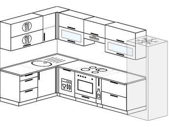 Планировка угловой кухни 7,7 м², 160 на 310 см (зеркальный проект): верхние модули 72 см, посудомоечная машина, встроенный духовой шкаф, корзина-бутылочница, холодильник