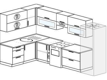 Угловая кухня 7,7 м² (1,6✕3,1 м), верхние модули 72 см, холодильник, отдельно стоящая плита
