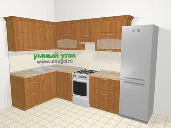 Угловая кухня МДФ матовый в классическом стиле 7,7 м², 1600 на 3100 мм (зеркальный проект), Вишня, верхние модули 720 мм, холодильник, отдельно стоящая плита