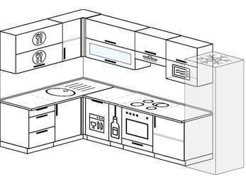 Угловая кухня 7,7 м² (1,6✕3,1 м), верхние модули 72 см, посудомоечная машина, верхний модуль под свч, встроенный духовой шкаф, холодильник