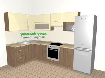 Угловая кухня МДФ матовый 7,7 м², 1600 на 3100 мм (зеркальный проект), Ваниль / Лиственница бронзовая, верхние модули 720 мм, посудомоечная машина, верхний модуль под свч, встроенный духовой шкаф, холодильник