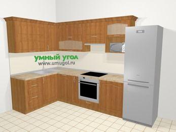 Угловая кухня МДФ матовый в классическом стиле 7,7 м², 1600 на 3100 мм (зеркальный проект), Вишня, верхние модули 720 мм, посудомоечная машина, верхний модуль под свч, встроенный духовой шкаф, холодильник
