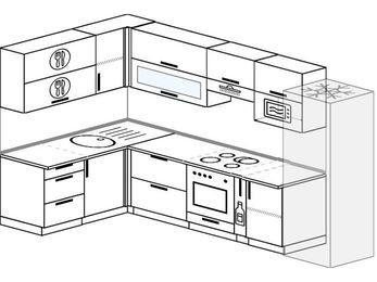 Угловая кухня 7,7 м² (1,6✕3,1 м), верхние модули 72 см, верхний модуль под свч, встроенный духовой шкаф, холодильник