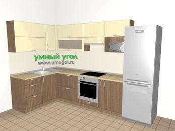 Угловая кухня МДФ матовый 7,7 м², 1600 на 3100 мм (зеркальный проект), Ваниль / Лиственница бронзовая, верхние модули 720 мм, верхний модуль под свч, встроенный духовой шкаф, холодильник