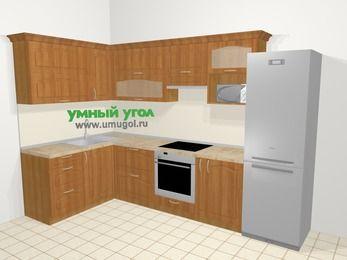 Угловая кухня МДФ матовый в классическом стиле 7,7 м², 1600 на 3100 мм (зеркальный проект), Вишня, верхние модули 720 мм, верхний модуль под свч, встроенный духовой шкаф, холодильник
