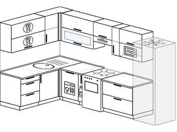 Угловая кухня 7,7 м² (1,6✕3,1 м), верхние модули 720 мм, посудомоечная машина, верхний модуль под свч, холодильник, отдельно стоящая плита