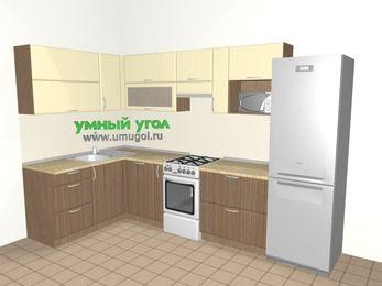 Угловая кухня МДФ матовый 7,7 м², 1600 на 3100 мм (зеркальный проект), Ваниль / Лиственница бронзовая, верхние модули 720 мм, посудомоечная машина, верхний модуль под свч, холодильник, отдельно стоящая плита