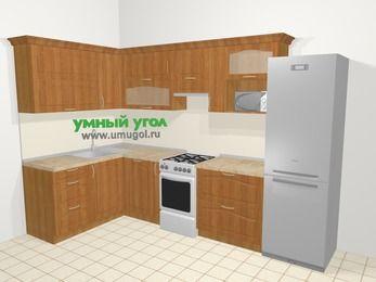 Угловая кухня МДФ матовый в классическом стиле 7,7 м², 1600 на 3100 мм (зеркальный проект), Вишня, верхние модули 720 мм, посудомоечная машина, верхний модуль под свч, холодильник, отдельно стоящая плита