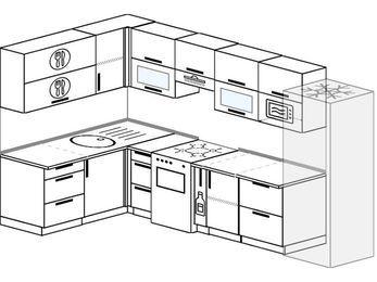 Угловая кухня 7,7 м² (1,6✕3,1 м), верхние модули 72 см, модуль под свч, холодильник, отдельно стоящая плита