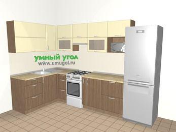 Угловая кухня МДФ матовый 7,7 м², 1600 на 3100 мм (зеркальный проект), Ваниль / Лиственница бронзовая, верхние модули 720 мм, модуль под свч, холодильник, отдельно стоящая плита