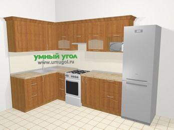Угловая кухня МДФ матовый в классическом стиле 7,7 м², 1600 на 3100 мм (зеркальный проект), Вишня, верхние модули 720 мм, модуль под свч, холодильник, отдельно стоящая плита