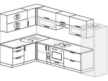 Угловая кухня 7,7 м² (1,6✕3,1 м), верхние модули 720 мм, встроенный духовой шкаф, холодильник