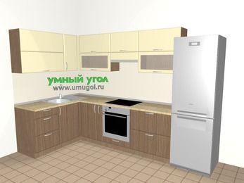 Угловая кухня МДФ матовый 7,7 м², 1600 на 3100 мм (зеркальный проект), Ваниль / Лиственница бронзовая, верхние модули 720 мм, встроенный духовой шкаф, холодильник