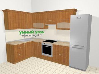 Угловая кухня МДФ матовый в классическом стиле 7,7 м², 1600 на 3100 мм (зеркальный проект), Вишня, верхние модули 720 мм, встроенный духовой шкаф, холодильник
