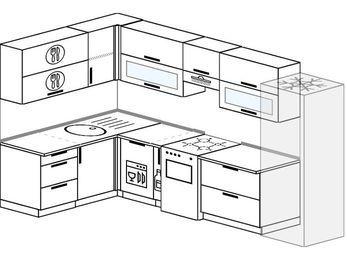 Угловая кухня 7,7 м² (1,6✕3,1 м), верхние модули 72 см, посудомоечная машина, холодильник, отдельно стоящая плита