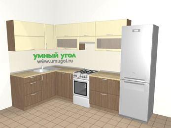 Угловая кухня МДФ матовый 7,7 м², 1600 на 3100 мм (зеркальный проект), Ваниль / Лиственница бронзовая, верхние модули 720 мм, посудомоечная машина, холодильник, отдельно стоящая плита