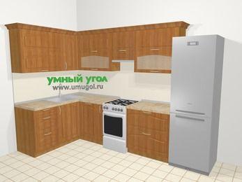 Угловая кухня МДФ матовый в классическом стиле 7,7 м², 1600 на 3100 мм (зеркальный проект), Вишня, верхние модули 720 мм, посудомоечная машина, холодильник, отдельно стоящая плита
