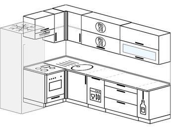 Угловая кухня 7,2 м² (1,7✕2,7 м), верхние модули 72 см, посудомоечная машина, встроенный духовой шкаф, холодильник