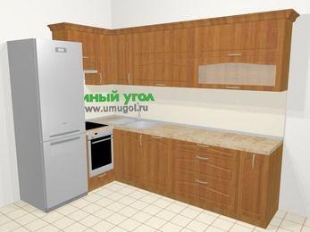 Угловая кухня МДФ матовый в классическом стиле 7,2 м², 170 на 270 см, Вишня, верхние модули 72 см, посудомоечная машина, встроенный духовой шкаф, холодильник