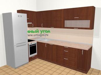 Угловая кухня МДФ матовый в классическом стиле 7,2 м², 170 на 270 см, Вишня темная, верхние модули 72 см, посудомоечная машина, встроенный духовой шкаф, холодильник