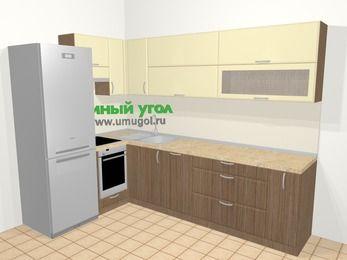 Угловая кухня МДФ матовый в современном стиле 7,2 м², 170 на 270 см, Ваниль / Лиственница бронзовая, верхние модули 72 см, посудомоечная машина, встроенный духовой шкаф, холодильник