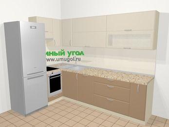 Угловая кухня МДФ матовый в современном стиле 7,2 м², 170 на 270 см, Керамик / Кофе, верхние модули 72 см, посудомоечная машина, встроенный духовой шкаф, холодильник
