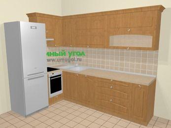 Угловая кухня МДФ матовый в стиле кантри 7,2 м², 170 на 270 см, Ольха, верхние модули 72 см, посудомоечная машина, встроенный духовой шкаф, холодильник