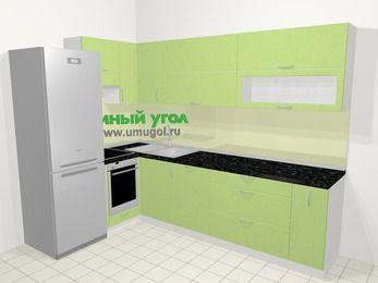 Угловая кухня МДФ металлик в современном стиле 7,2 м², 170 на 270 см, Салатовый металлик, верхние модули 72 см, посудомоечная машина, встроенный духовой шкаф, холодильник