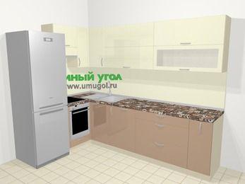 Угловая кухня МДФ глянец в современном стиле 7,2 м², 170 на 270 см, Жасмин / Капучино, верхние модули 72 см, посудомоечная машина, встроенный духовой шкаф, холодильник