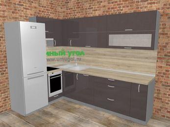 Угловая кухня МДФ глянец в стиле лофт 7,2 м², 170 на 270 см, Шоколад, верхние модули 72 см, посудомоечная машина, встроенный духовой шкаф, холодильник