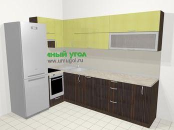 Кухни пластиковые угловые в современном стиле 7,2 м², 170 на 270 см, Желтый Галлион глянец / Дерево Мокка, верхние модули 72 см, посудомоечная машина, встроенный духовой шкаф, холодильник
