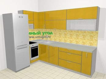 Кухни пластиковые угловые в современном стиле 7,2 м², 170 на 270 см, Желтый глянец, верхние модули 72 см, посудомоечная машина, встроенный духовой шкаф, холодильник