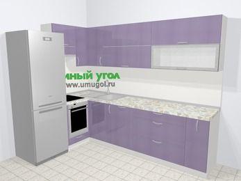 Кухни пластиковые угловые в современном стиле 7,2 м², 170 на 270 см, Сиреневый глянец, верхние модули 72 см, посудомоечная машина, встроенный духовой шкаф, холодильник