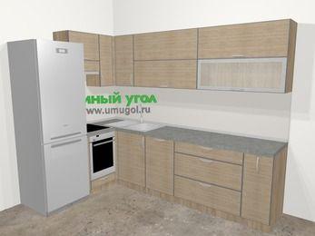 Кухни пластиковые угловые в стиле лофт 7,2 м², 170 на 270 см, Чибли бежевый, верхние модули 72 см, посудомоечная машина, встроенный духовой шкаф, холодильник