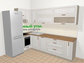 Угловая кухня МДФ патина в классическом стиле 7,2 м², 170 на 270 см, Лиственница белая, верхние модули 72 см, посудомоечная машина, встроенный духовой шкаф, холодильник