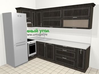 Угловая кухня МДФ патина в классическом стиле 7,2 м², 170 на 270 см, Венге, верхние модули 72 см, посудомоечная машина, встроенный духовой шкаф, холодильник