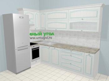 Угловая кухня МДФ патина в стиле прованс 7,2 м², 170 на 270 см, Лиственница белая, верхние модули 72 см, посудомоечная машина, встроенный духовой шкаф, холодильник