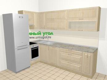 Угловая кухня из массива дерева в классическом стиле 7,2 м², 170 на 270 см, Светло-коричневые оттенки, верхние модули 72 см, посудомоечная машина, встроенный духовой шкаф, холодильник