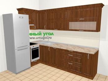 Угловая кухня из массива дерева в классическом стиле 7,2 м², 170 на 270 см, Темно-коричневые оттенки, верхние модули 72 см, посудомоечная машина, встроенный духовой шкаф, холодильник