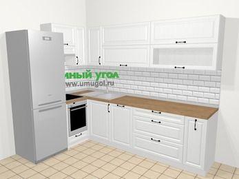 Угловая кухня из массива дерева в скандинавском стиле 7,2 м², 170 на 270 см, Белые оттенки, верхние модули 72 см, посудомоечная машина, встроенный духовой шкаф, холодильник