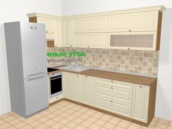 Угловая кухня из массива дерева в стиле кантри 7,2 м², 170 на 270 см, Бежевые оттенки, верхние модули 72 см, посудомоечная машина, встроенный духовой шкаф, холодильник