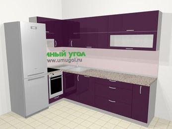 Угловая кухня МДФ глянец в современном стиле 7,2 м², 170 на 270 см, Баклажан, верхние модули 72 см, посудомоечная машина, встроенный духовой шкаф, холодильник