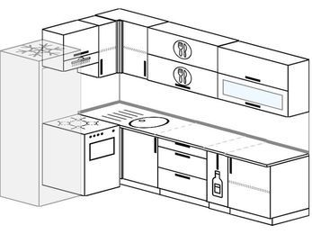 Угловая кухня 7,2 м² (1,7✕2,7 м), верхние модули 72 см, холодильник, отдельно стоящая плита