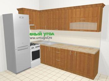 Угловая кухня МДФ матовый в классическом стиле 7,2 м², 170 на 270 см, Вишня, верхние модули 72 см, холодильник, отдельно стоящая плита