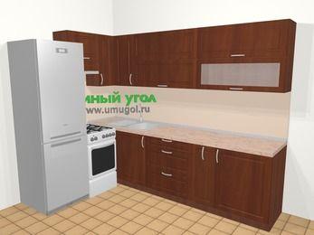 Угловая кухня МДФ матовый в классическом стиле 7,2 м², 170 на 270 см, Вишня темная, верхние модули 72 см, холодильник, отдельно стоящая плита